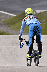 August 11, 2018 - Glasgow, UNITED KINGDOM - Belgian BMX cyclist Ruben Gommers looks dejected after a fall in the 1/8 finals of the men's BMX event at the European Championships, in Glasgow, Scotland, Saturday 11 August 2018. European championships of several sports will be held in Glasgow from 03 to 12 August. BELGA PHOTO ERIC LALMAND (Credit Image: © Eric Lalmand/Belga via ZUMA Press)