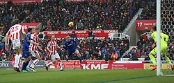 Everton's Tom Davies (centre) goes close with a header