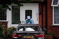 © Licensed to London News Pictures. 12/08/2017. London, UK. Forensics at a property on Golders Green Crescent in Golders Green where the bodies of two women were found on Friday night. The women aged 33 and 66, thought to be mother and daughter, were suffering from stab wounds - both were pronounced dead at the scene. Joshua Cohen, 27 was arrested by police in connection with the killings, at a park near the scene. Photo credit: Ben Cawthra/LNP