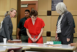 May 1, 2019 - Fort Lauderdale, FL, USA - Parkland school shooting suspect Nikolas Cruz in court at the Broward Courthouse in Fort Lauderdale,  Fla. on Wednesday, May 1, 2019 for a motion filed by the Public Defender's Office to withdraw from the case due to Cruz receiving an inheritance that can be used to pay for a private attorney. (Credit Image: © TNS via ZUMA Wire)