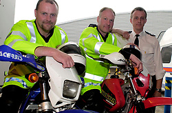 Sgt Simon Slack (far right) with PC Neil Fletcher and PC Garry Kelsall members from the Off Road Biking Unit , which is part of the Road Policing Group.<br /><br />Image Copyright Paul David Drabble<br /><br />27 June 2003<br /><br />Copyright  Paul David Drabble<br />[#Beginning of Shooting Data Section]<br />Nikon D1 <br />2003/06/27 15:05:09.5<br />JPEG (8-bit) Fine<br />Image Size:  2000 x 1312<br />Color<br />Lens: 24mm f/2.8<br />Focal Length: 24mm<br />Exposure Mode: Programmed Auto<br />Metering Mode: Multi-Pattern<br />1/60 sec - f/5.6<br />Exposure Comp.: 0 EV<br />Sensitivity: ISO 400<br />White Balance: Auto<br />AF Mode: AF-S<br />Tone Comp: Less Contrast<br />Flash Sync Mode: Front Curtain<br />Auto Flash Mode: External<br />Color Mode: <br />Hue Adjustment: <br />Sharpening: Normal<br />Noise Reduction: <br />Image Comment: <br />[#End of Shooting Data Section]