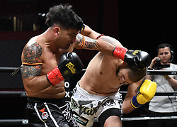 July 28, 2018 - Mashantucket, CT, U.S. - MASHANTUCKET, CT - JULY 28: Fernando Perez (red tape) takes on Tom Evans (blue tape) in a Middleweight  bout on July 28, 2018 at Lion Fight 45 at the Fox Theater of Foxwoods Casino in Mashantucket, Connecticut. Tom Evans defeats Fernando Perez via decision. (Photo by Williams Paul/Icon Sportswire) (Credit Image: © Williams Paul/Icon SMI via ZUMA Press)