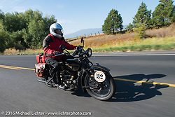 Byrne Bramwell riding his 1929 Henderson KJ during Stage 14 - (284 miles) of the Motorcycle Cannonball Cross-Country Endurance Run, which on this day ran from Meridian to Lewiston, Idaho, USA. Friday, September 19, 2014.  Photography ©2014 Michael Lichter.