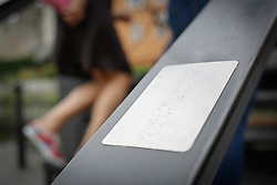 August 20, 2017 - Bydgoszcz, Poland - A braille plate is seen on the railing of a bridge in the old center of the city of Bydgoszcz, Poland on 20 August, 2017. (Credit Image: © Jaap Arriens/NurPhoto via ZUMA Press)