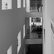 Frankfurt am Main, Germany, Darmstadt, 1986: Interior second floor, Museum for the Decorative Arts at Schaumainkai St. - Richard Meier Architect -  Get and touch, for commercial uses or other sizes. Photographs by Alejandro Sala