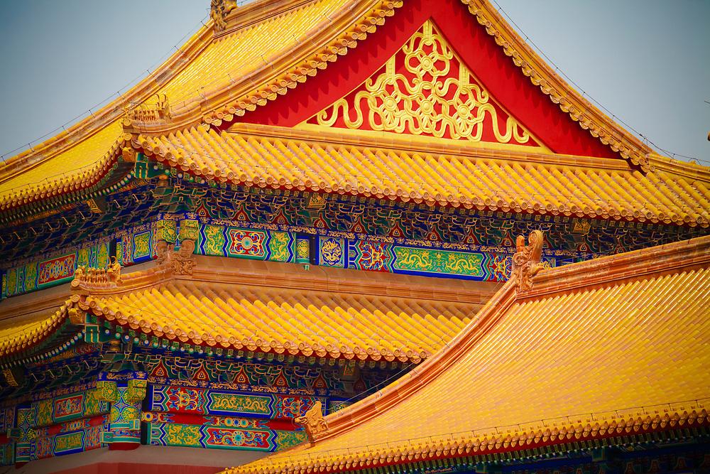 Golden rooftops on Forbidden City buildings, Beijing, China