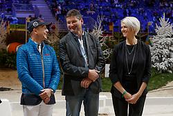 Joël Aeschlimann, Jung Michael, Glötz Mirko, Mrs Glötz<br /> WBFSH Prize Giving<br /> CHI de Genève 2017<br /> © Hippo Foto - Dirk Caremans<br /> 09/12/2017