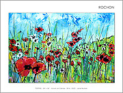 Who doesn't love poppies!<br /> <br /> My skies always come in first, not sure why, they just do, and they always show me where the painting will go - and give me a glimpse, the truth as to where I am, emotionally. Skies come quick, that's how I know they are my emotions expressing themselves, showing me the way.<br /> <br /> There is no hiding from the canvas - I can try, but it never works. When I approach a blank white canvas, I bring with me my current state of mind. Often, I intend to wish myself away from my emotional state by painting in an opposite direction in order to change my state. This never works, thank God, or my paintings would be garbage - they would simply be copies of nature, or something static - they would not be honest. This painting, 'POPPIES,' was a wonderful exception, where my intention matched the outcome.<br /> <br /> I stepped up to that canvas, in a hopeful, carefree mood, wanting to celebrate life, the feelings I had on a recent walk seeing a field poppies that I don't usually notice. That day, I did, as I took the time to sit there, for the longest time, enjoying the time, just feeling 'happy' - and I didn't ever want to forget this moment. I wanted to remind myself that the Poppies were there and would always be there, that I could always there, if I pay attention. I could always be happy, if pay attention. SOLD