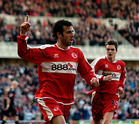 Photo: Jed Wee/Sportsbeat Images.<br /> Middlesbrough v West Bromwich Albion. The FA Cup. 17/02/2007.<br /> <br /> Middlesbrough's Julio Arca celebrates after scoring the opening goal.