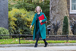 © Licensed to London News Pictures. 22/10/2019. London, UK. Secretary of State for International Trade LIZ TRUSS arrives in Downing Street to attend the weekly cabinet meeting. Photo credit: Dinendra Haria/LNP