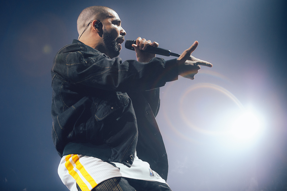 Drake performing live at the Oracle Arena concert venue in Oakland, CA on September 13, 2016