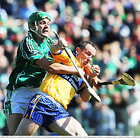 22 June 2008; Colin Lynch, Clare, is tackled by Limerick's Mike O'Brien. GAA Hurling Munster Senior Championship Semi-Final, Limerick v Clare, Semple Stadium, Thurles, Co. Tipperary. Picture credit: Ray McManus / SPORTSFILE