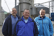 SHOT 10/29/18 9:55:13 AM - Sunrise Cooperative is a leading agricultural and energy cooperative based in Fremont, Ohio with members spanning from the Ohio River to Lake Erie. Sunrise is 100-percent farmer-owned and was formed through the merger of Trupointe Cooperative and Sunrise Cooperative on September 1, 2016. Photographed at the Clyde, Ohio grain elevator was George D. Secor President / CEO and John Lowry<br /> Chairman of the Board of Directors with  CoBank RM Gary Weidenborner. (Photo by Marc Piscotty © 2018)