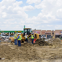 062415       Cayla Nimmo<br /> <br /> Construction crews finish the demolition of Maloney Carwash Wednesday to make room for a Panda Express off 491 in Gallup.