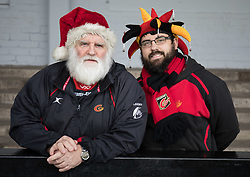 Dragons fans before the match<br /> <br /> Photographer Simon King/Replay Images<br /> <br /> Guinness PRO14 Round 12 - Dragons v Ospreys - Sunday 30th December 2018 - Rodney Parade - Newport<br /> <br /> World Copyright © Replay Images . All rights reserved. info@replayimages.co.uk - http://replayimages.co.uk