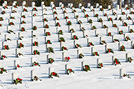 65095-03007 Wreaths on graves in winter Jefferson Barracks National Cemetery St. Louis,  MO