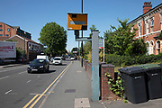 Speed camera on Moseley Road in Birmingham, United Kingdom. A traffic enforcement camera is a camera which may be mounted beside or over a road or installed in an enforcement vehicle to detect traffic regulation violations, including speeding.