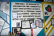 Commemoration of the first anniversary of the devastating fire of 14th/15th June  2017 in Grenfell Tower, Lancaster West Estate, West London, United Kingdom when 72 people were killed. Community participation wall under the Westway.