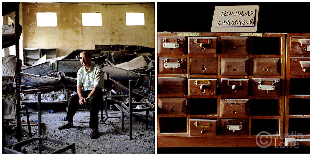 At left, a professor at Baghdad University sits in the school's library which was destroyed by looters. At right, a damaged card catalouge at the library.