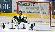Powell River Kings goaltender Brian Wilson sits in his crease as the Victoria Grizzlies celebrate as Keyvan Mokhtari scored the winning goal in double overtime at the Q Centre in Colwood, British Columbia Canada on March 27, 2017.