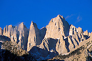Morning light on the east face of Mount Whitney, Sierra Nevada Mountains, Inyo National Forest, Sequoia National Park, California.