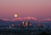 Full Moon Rising in Downtown Los Angeles
