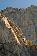 Sheer granite rock cliffs on The Grand Sentinel, Kings Canyon National Park, California
