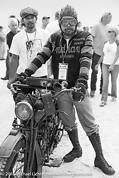 Shinya Kimura and riding partner Yoshimasa Niimi on the sands of Daytona Beach just before the start of the Motorcycle Cannonball. Stage 1 of the Motorcycle Cannonball Cross-Country Endurance Run, which on this day ran from Daytona Beach to Lake City, FL., USA. Friday, September 5, 2014.  Photography ©2014 Michael Lichter.