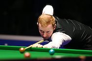 Anthony McGill of Scotland in action during his 1st round match against Joe Perry of England .  Coral Welsh Open Snooker 2017, day 2 at the Motorpoint Arena in Cardiff, South Wales on Tuesday 14th February 2017.<br /> pic by Andrew Orchard, Andrew Orchard sports photography.