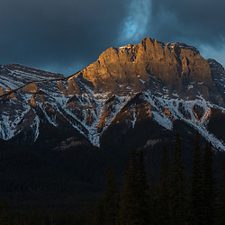 Canmore Wall, Mt Lawrence Grassi, Canmore, Alberta at sunrise.