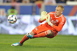 May 27, 2017 - Harrison, New Jersey, U.S - New England Revolution goalkeeper CODY CROPPER (1) makes a save at Red Bull Arena in Harrison New Jersey New York defeats New England 2 to 1 (Credit Image: © Brooks Von Arx via ZUMA Wire)
