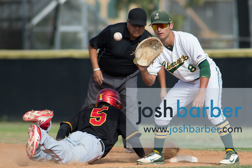 Edison's Vince Inman and Palm Desert's Izayah Alvarez during the CIF-SS Division 2 Quarterfinal: Palm Desert v Edison at Edison High School on Friday, May 26, 2017 in Huntington Beach, Calif. (Photo by Josh Barber, Contributing Photographer)