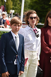 29 July 2021 - The QATAR Goodwood Festival Ladies Day at Goodwood Racecourse, West Sussex.<br /> Picture Shows - Lady Flora Rycroft and her son Nelson Rycroft.<br /> <br /> NON EXCLUSIVE - WORLD RIGHTS