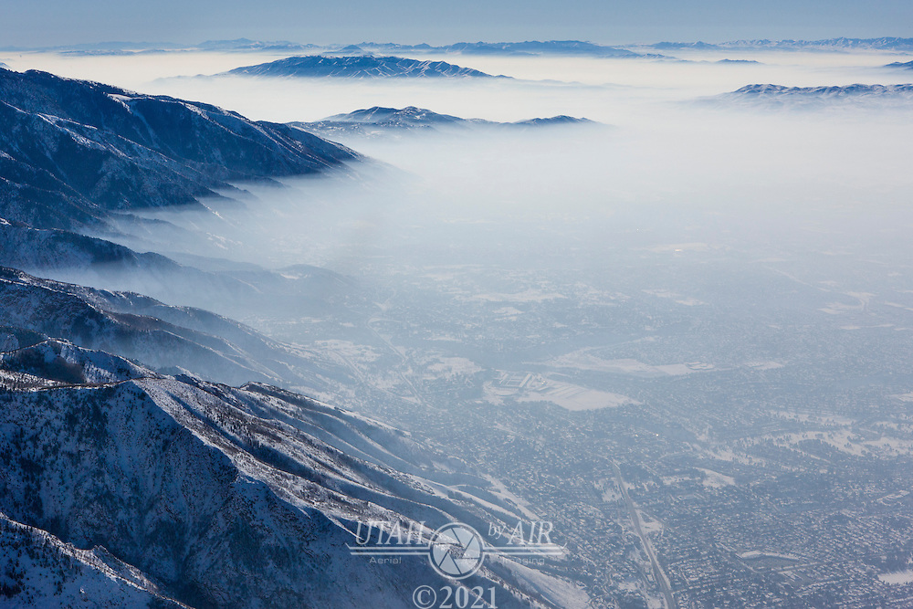 Haze from the temperature inversion in Salt Lake County