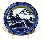 Japanese Edo Period plate with a Dutch scene. Porcelain with glaze. 1615 - 1868