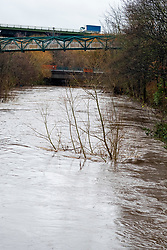 The swollen River Don around Meadowhall in Sheffield as an amber flood alerts and remain in place across South Yorkshire due to Stom Christoph<br /> <br /> 20 January 2021<br /> <br /> www.pauldaviddrabble.co.uk<br /> All Images Copyright Paul David Drabble - <br /> All rights Reserved - <br /> Moral Rights Asserted -
