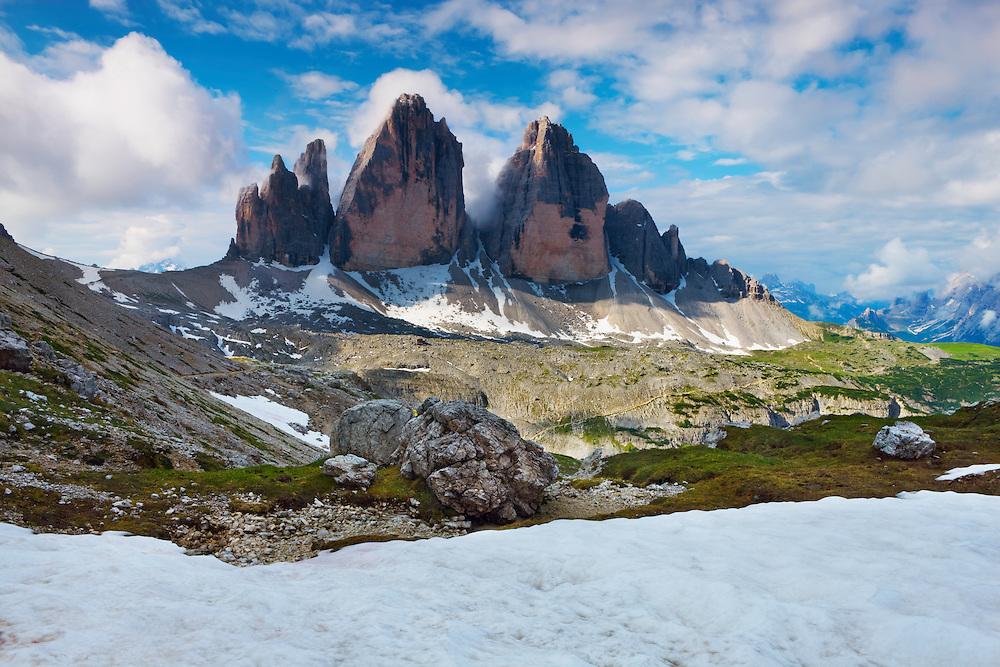 Mountain impression Tre Cime - Europe, Italy, South Tyrol, Sexten Dolomites, Tre Cime - Forenoon - July 2009 - Mission Dolomites Tre Cime
