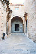 The entrance to the Dominican Monastery and Saint Nicolas church near the Ploce city gate. Dubrovnik, old city. Dalmatian Coast, Croatia, Europe.