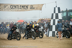 Motorcycles racing 4-up at the starting line at TROG West - The Race of Gentlemen. Pismo Beach, CA, USA. Saturday October 15, 2016. Photography ©2016 Michael Lichter.