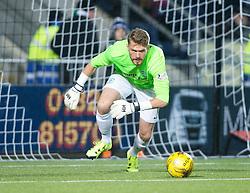 Hibernian's keeper Mark Oxley. Falkirk 0 v 1 Hibernian, Scottish Championship game played 20/10/2015 at The Falkirk Stadium.