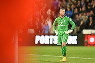 Kasper Schmeichel, the Leicester city goalkeeper looks on after Swansea city score their 1st goal.Barclays Premier league match, Swansea city v Leicester city at the Liberty stadium in Swansea, South Wales on Saturday 25th October 2014<br /> pic by Andrew Orchard, Andrew Orchard sports photography.