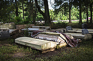 Cemetery in Zachary, Louisiana that was damaged by the 1000-year flood that hit Southern Louisiana in August. Some of the caskets were unearthed.