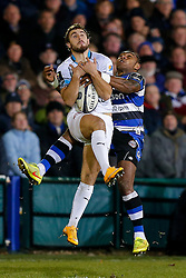 Montpellier Full Back Pierre Berard is challenged by Bath Winger Semesa Rokoduguni - Photo mandatory by-line: Rogan Thomson/JMP - 07966 386802 - 12/12/2014 - SPORT - RUGBY UNION - Bath, England - The Recreation Ground - Bath Rugby v Montpellier Herault Rugby - European Rugby Champions Cup Pool 4.
