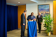 President of Gabon, Ali Bongo Ondimba, signs the guest book at the UN with Secretary General Ban Ki moon.
