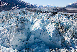 Aerial view of the toe of the Lowell Glacier, Kluane National Park, Yukon