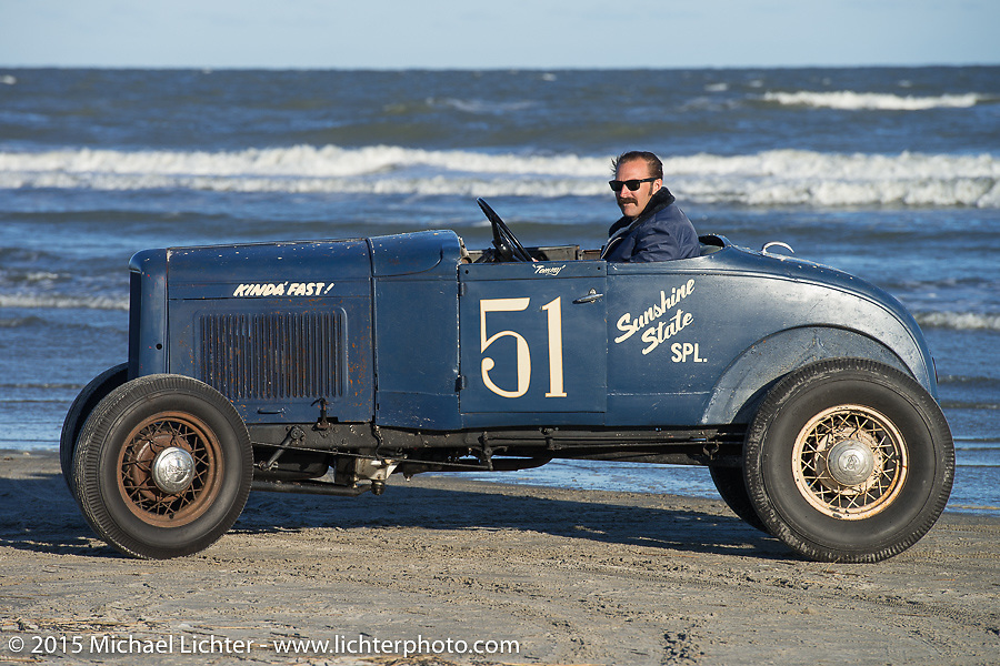 Thomas Berry of Florida driving his 1930 Ford Model A Roadster at the Race of Gentlemen. Wildwood, NJ, USA. October 10, 2015.  Photography ©2015 Michael Lichter.