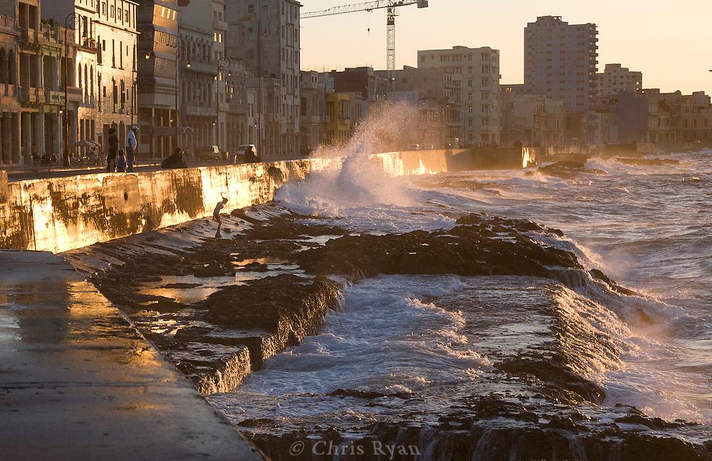 Waves hitting the Malecon, Havana, Cuba