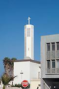 Church spire in Walvis Bay, Namibia