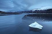 Stranded icecube in Markarfljót after the erupting volcano in Eyjafjallajökull caused a flod
