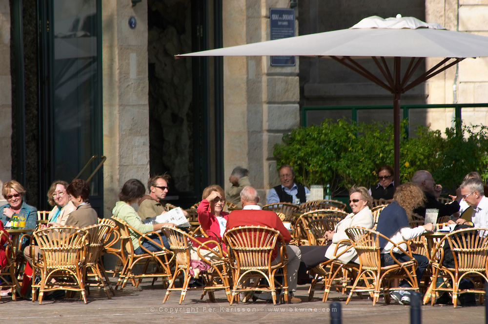 A cafe. Le Grand Bar. On Les Quais. Bordeaux city, Aquitaine, Gironde, France